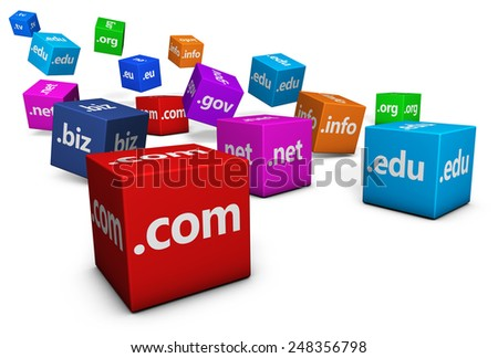 Website and Internet domain names web concept with domains sign and text on colorful cubes isolated on white background. - stock photo