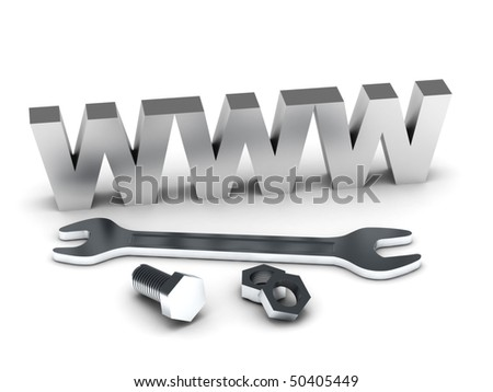 Website building. WWW with tools isolated on white background. High quality 3d render. - stock photo