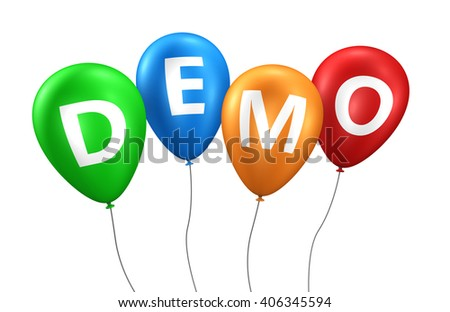 Website business, Internet and web concept with demo word and sign on colorful balloons 3D illustration isolated on white background. - stock photo