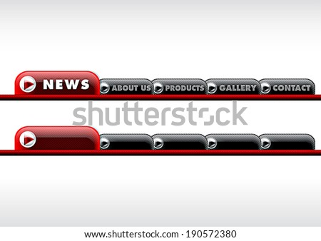 Website button set - red illustration - stock photo