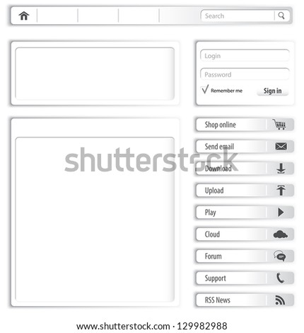 Website design light gray elements and modules - stock photo