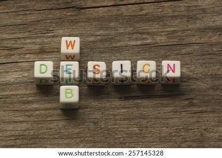 website development concept - web design crossword - stock photo