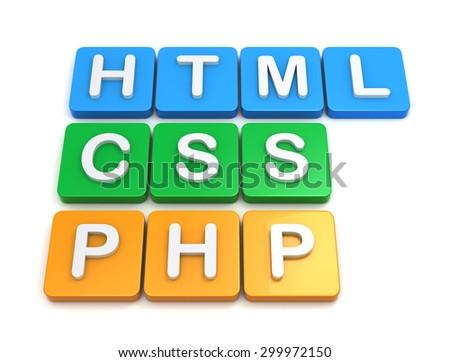 Website development tools HTML CSS PHP - stock photo