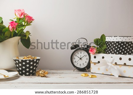 Website header design with feminine glamour objects - stock photo