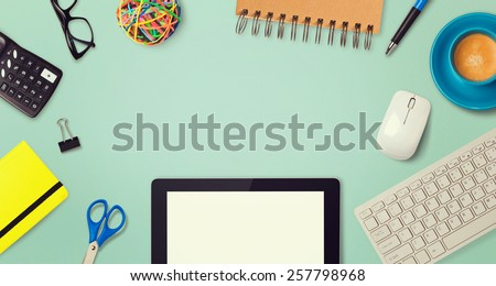Website header hero image design with tablet and office items - stock photo