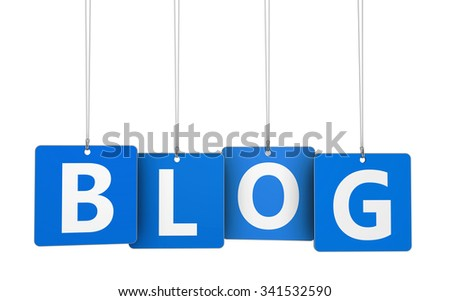 Website, Internet and blogging concept with blog word and sign on blue hanged tags isolated on white background.