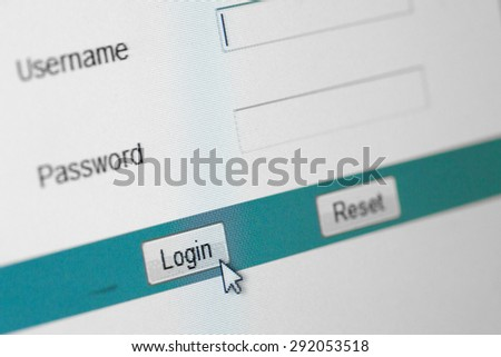 Website Login Screen Macro Capture Pale Blue - stock photo