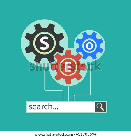 Website of the SEO optimization. Flat infographics. Stock illustration. - stock photo