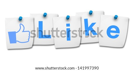 Website, social media and Internet concept with like word and icon on four paper post it on white background.