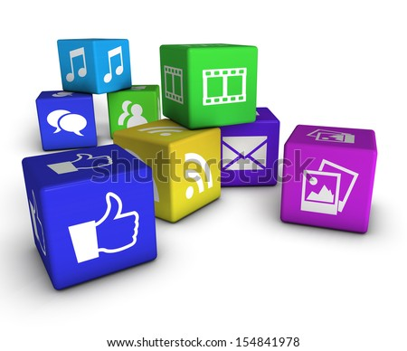 Website, social media and Internet concept with web icons on colorful cubes isolated on white background. - stock photo