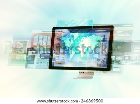 Websites flashing on monitor screen in high speed internet  connection - stock photo