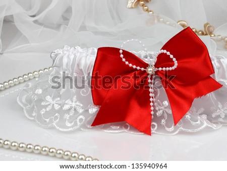 wedding accessories on white background - stock photo