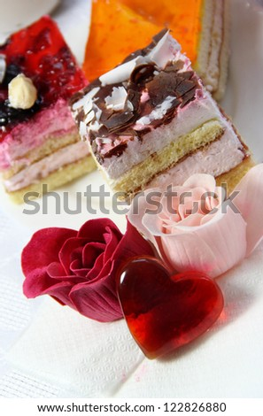Wedding and Valentine's Day decoration - cake, roses, heart