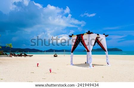 wedding arc for ceremony on the beach - stock photo