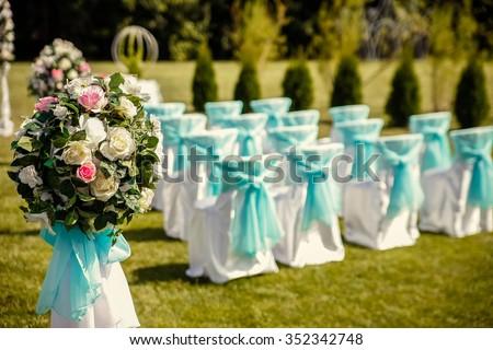 Wedding arch. Beautiful Wedding Ceremony. - stock photo