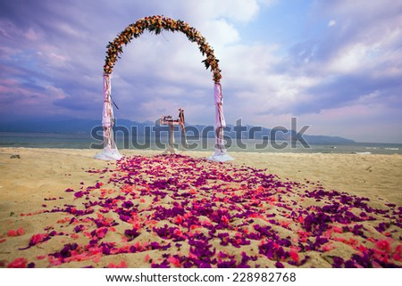 wedding arch for ceremony at Bali - stock photo