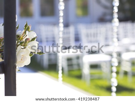 Wedding arch outdoors. Natural flowers. Decor. Floristics. visiting ceremony