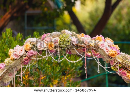 Wedding Arch with flowers - stock photo