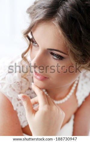 Wedding. Attractive bride with beautiful face