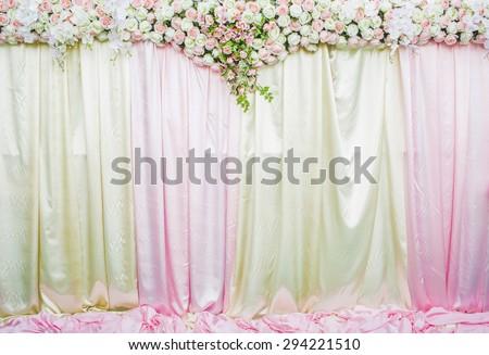 wedding backdrop with Beautiful flower - stock photo