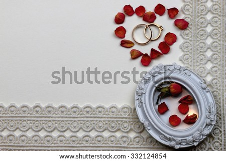 wedding background white lace rose ring