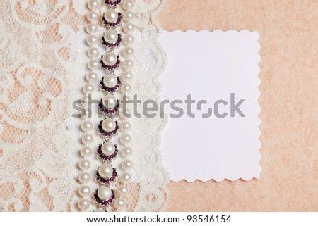 Wedding background with blank card  on peach background - stock photo