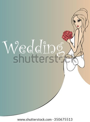 wedding background with bride with red flowers