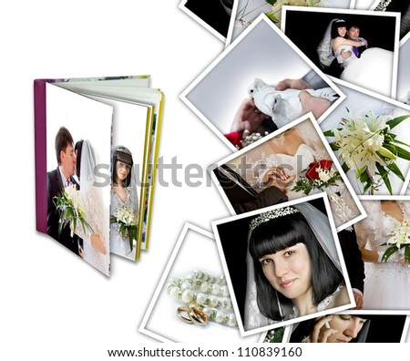 Wedding background with different photos and album - stock photo