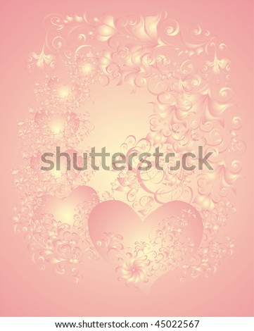 Wedding background with hearts and flower ornament