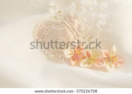 Wedding background with hearts and flowers - stock photo