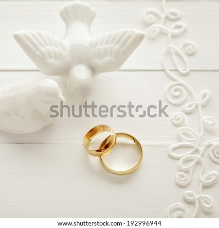 wedding background with wedding rings - stock photo
