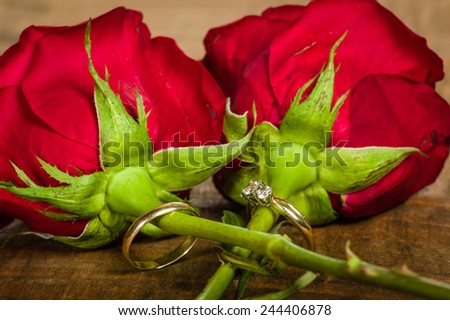 Wedding bands attached to bright red roses - stock photo