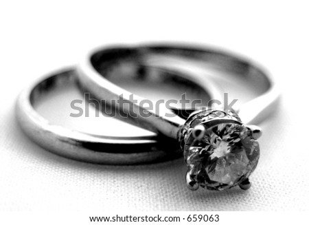 Wedding bands laying down - stock photo