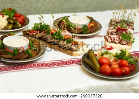 wedding banquet in a restaurant food - stock photo
