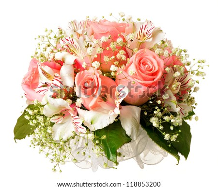 Wedding bouquet. Delicate flowers for the bride isolated on white background