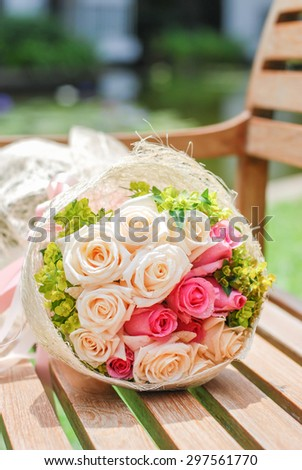 wedding bouquet, flowers, roses, beautiful at the chair - stock photo