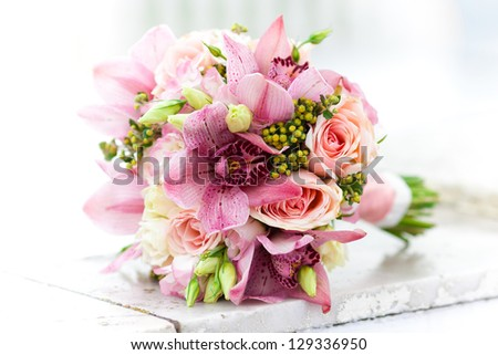 wedding bouquet, flowers, roses, beautiful bouquet - stock photo