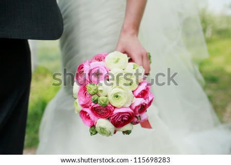 wedding bouquet flowers with colored flowers