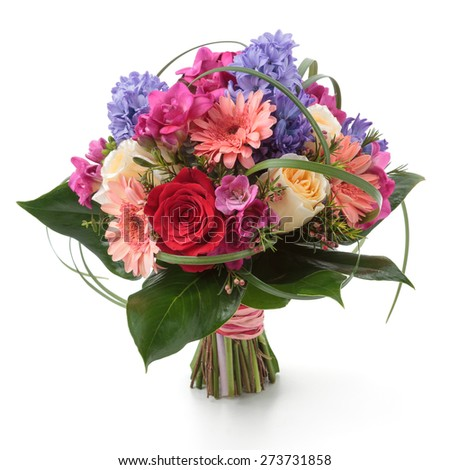 Wedding bouquet made of hyacinth, Rose, Gerber, Freesia and lilac flowers - stock photo