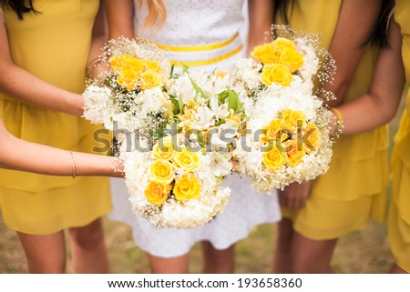 Wedding bouquet of a bride and two bridesmaid - stock photo