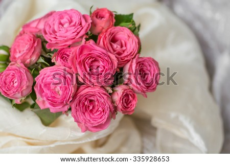 Wedding bouquet of beautiful pink roses