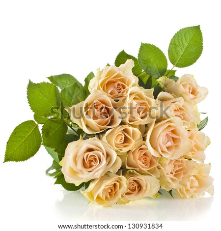 Wedding bouquet of cream roses isolated on white - stock photo