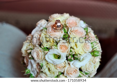 Wedding bouquet of pink and white  roses eustoma - stock photo