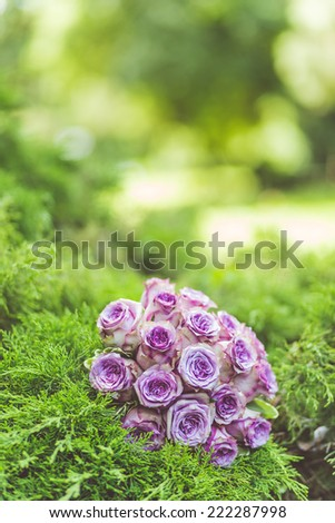 Wedding bouquet of purple roses lying on grass - stock photo