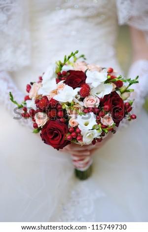 Wedding bouquet red white flowers stock photo royalty free wedding bouquet of red and white flowers mightylinksfo