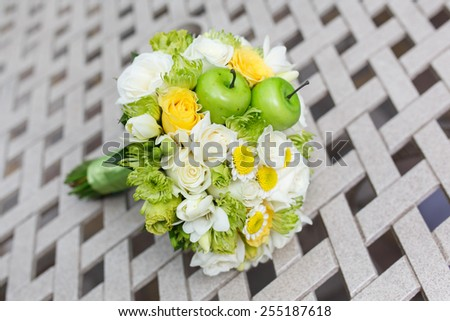wedding bouquet of roses, chrysanthemum and freesia flowers - stock photo