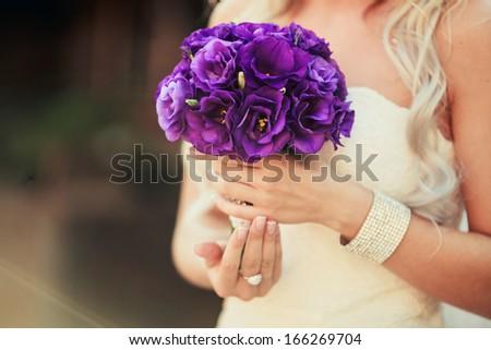 Wedding bouquet of the bride - stock photo
