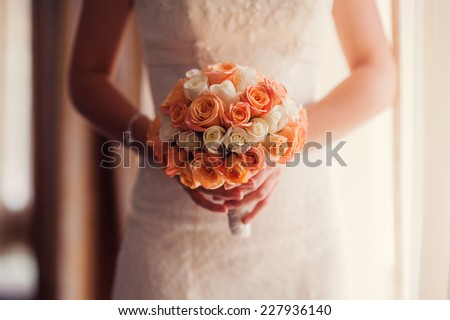 Wedding bouquet of the bride. - stock photo