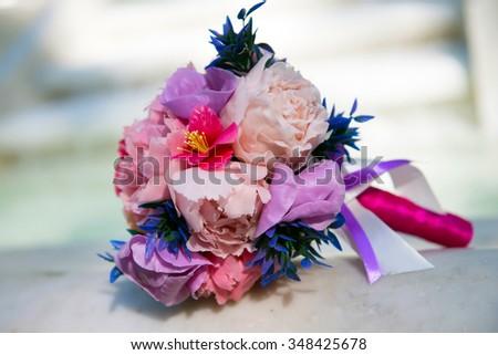 Wedding bouquet of the bride. Flower bouquet closeup. The wedding accessory. - stock photo