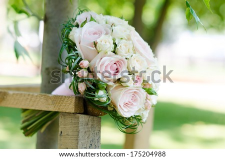 Wedding bouquet of white- pink roses - stock photo